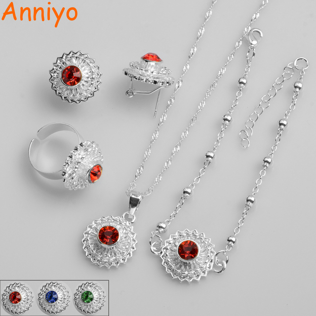 Anniyo Red Blue Green Stone Ethiopian Small Set Necklace Earrings Ring