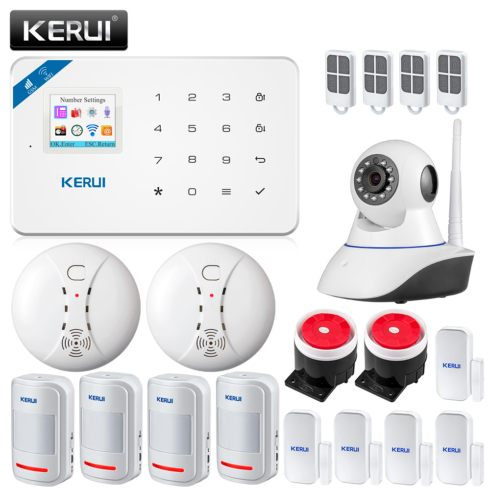 Original KERUI WI8 Wireless PIR Detector Smart WIFI GSM Burglar Security Alarm System IOS/Android APP Control Smart Home smart home security home security wifi alarm system android ios app control smart host