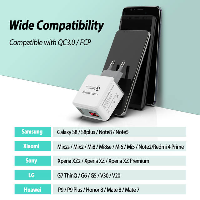 US $7 41 31% OFF Quick Charge 3 0 USB Fast Charger QC 3 0 QC3 0 Wall  Charger Adapter for Samsung Galaxy S9 Huawei FCP Xiaomi LG Mobile Phone  LED-in