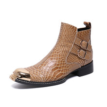 Christia Bella Winter Snake Skin Men Shoes Genuine Leather Boots Fashion Metal Toe Boots Plus Size Ankle Boots Buckle Boots(China)