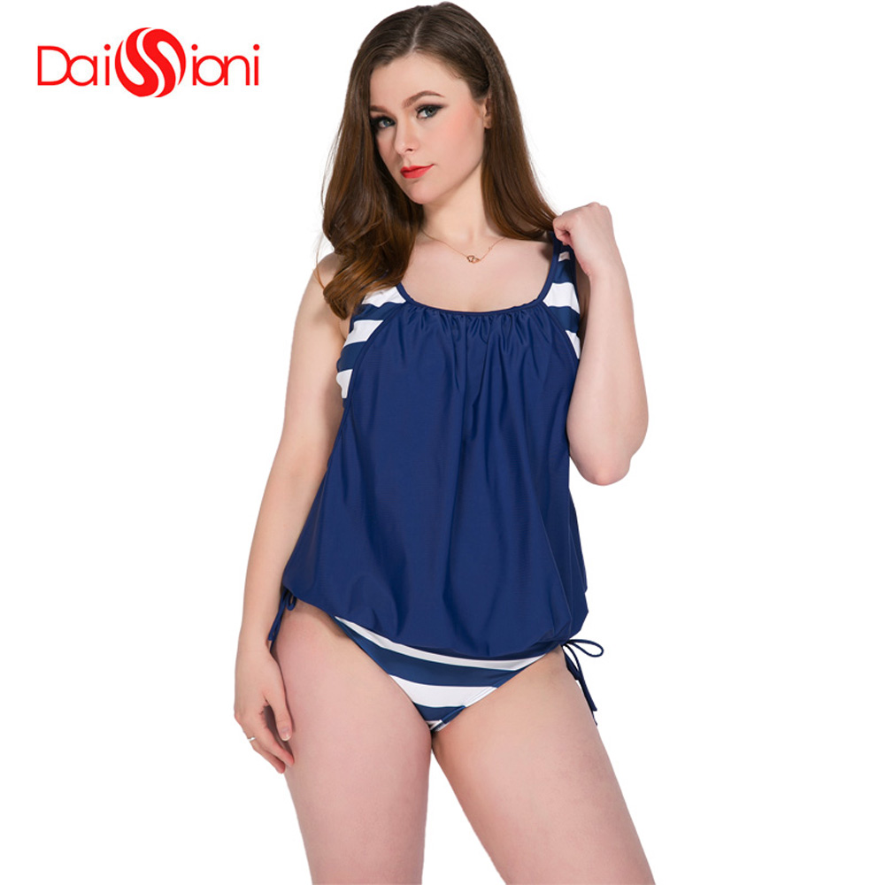 2019 Top Fashion Stripe Women Plus Size Swimwear Loose Bathing Suit Two-piece With Chest Pad Suits Tankini Biquinis Feminino