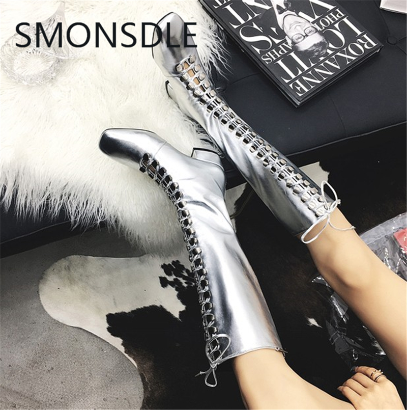 2018 New Fashion Spring Autumn Genuine Leather Women Knee High Boots Square Toe Lace Up Back Zipper Thick Low Heels Shoes Woman xiaying smile woman pumps shoes women spring autumn wedges heels british style classics round toe lace up thick sole women shoes