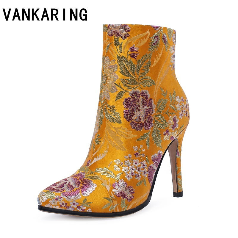 brand fashion embroidered satin leather high heels women ankle boots pointed toe western cowboy boots women