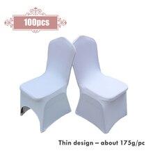 100 шт./лот, растягивающиеся чехлы на стулья из полиэстера и спандекса для свадебной вечеринки, банкета, обеда, торжества, церемонии, украшения