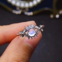 Natural light blue moonstone Ring Natural gemstone Ring S925 silver Luxurious Restoring Butterfly women's party fine Jewelry