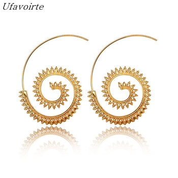 Ufavoirte Fashion Bijoux 9 Earring Hoop Round Indian Tribal Ethnic Earrings Boho Drop Earrings For Women love Jewelry Wholesale