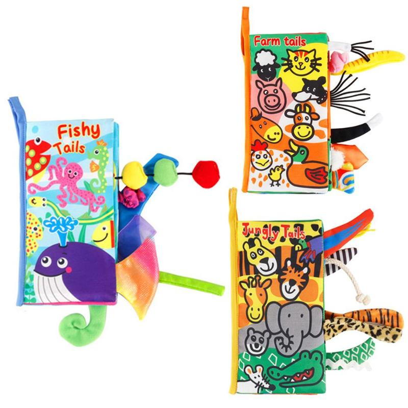 Kids 3D Animal Tails Cloth Book Baby Puzzle Toy Development curiosity Books