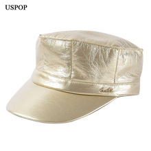 USPOP 2019 New autumn hats Newsboy caps PU for women solid color visor  fashion octagonal