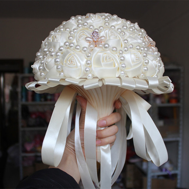 Новое Прибытие Кот Цвет Великолепный Ручной Свадебные Цветы Свадебные Букеты Элегантный Бриллиант Жемчуг Невесты Невесты Свадебный Букет