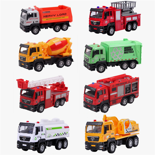 9 Style High Quality Alloy Vehicles Model Toy Mini Tractor China Toy Crane Fire Car Dinky Model Cheap Toys For Children Boy Gift
