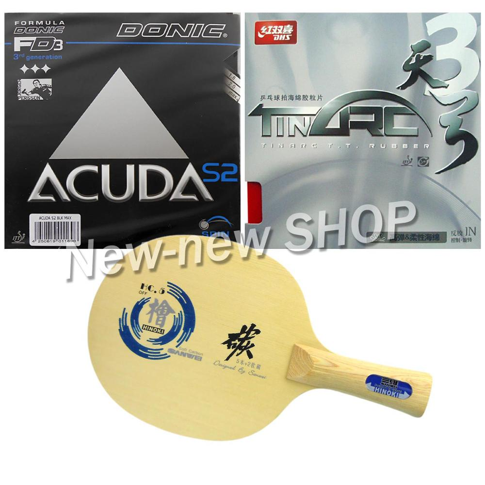 Pro Table Tennis PingPong Combo Paddle Racket Sanwei HC.5 + DHS TinArc3 and Donic ACUDA S2 Shakehand long handle FL galaxy yinhe emery paper racket ep 150 sandpaper table tennis paddle long shakehand st