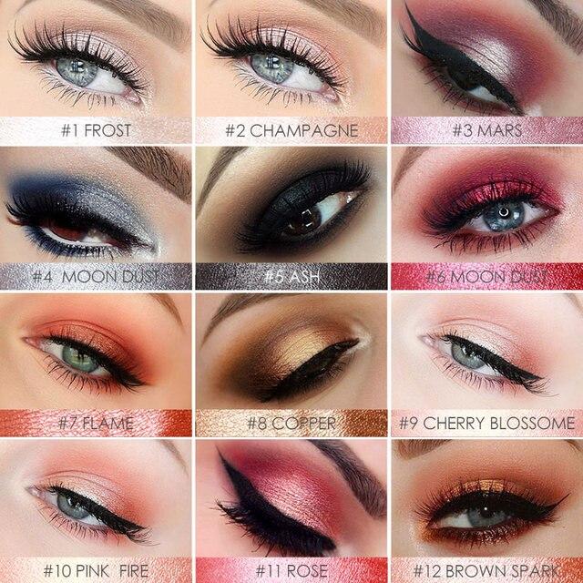 FOCALLURE 12 Colors Eyeshadow Pencil Women Beauty Cosmetic Shimmer Glitter Eye Shadow Pen Waterproof Eye Makeup 1