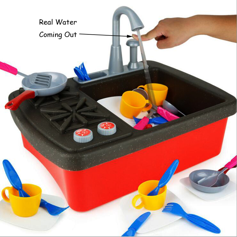Garçons Filles Cuisine Jouets Haute Simulé Lave-Vaisselle Machion Réel D'eau À Venir Enfants Jouent Maison Jouet Ensembles De Cuisson De Noël Jouets