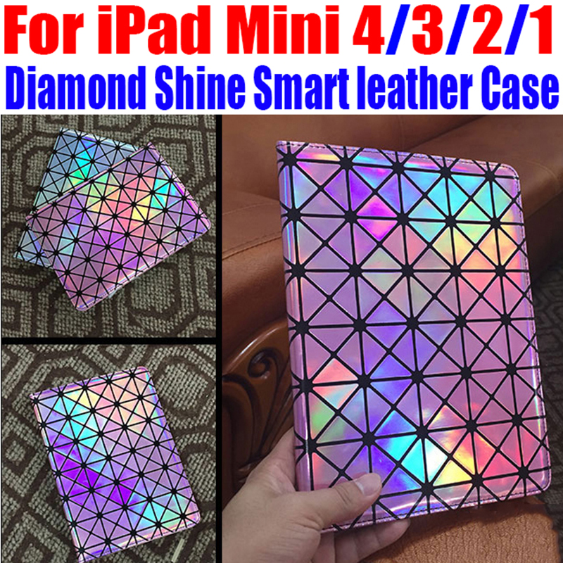 For iPad Mini 4 3 2 1 Luxury Fashion Diamond Shine Smart leather Case Stand Case