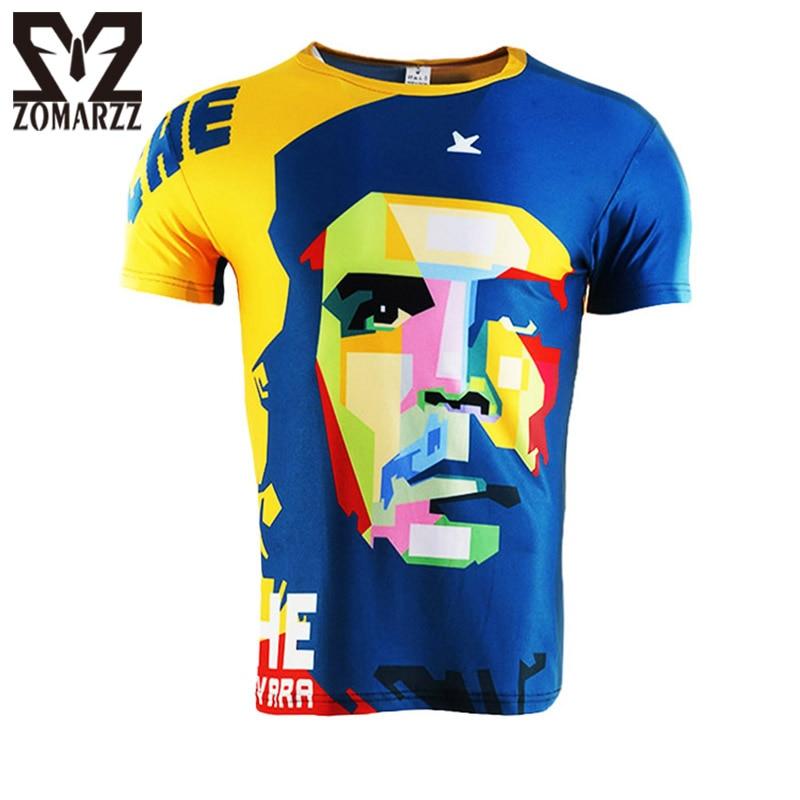 الشهيرة تشي t-shirt رجل 3d المطبوعة قميص بطل تشي غيفارا قصيرة الأكمام س الرقبة عارضة تي ذكر ضغط قمم S-4XL