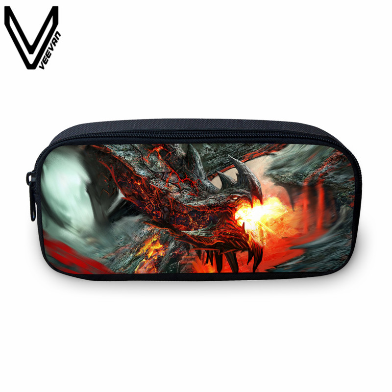 VEEVANV 2017 Hot Sale Flame Dragon 3D Printing Bag Case For Students Casual Study Bags Children Best Gifts Kids Mini Box Bags