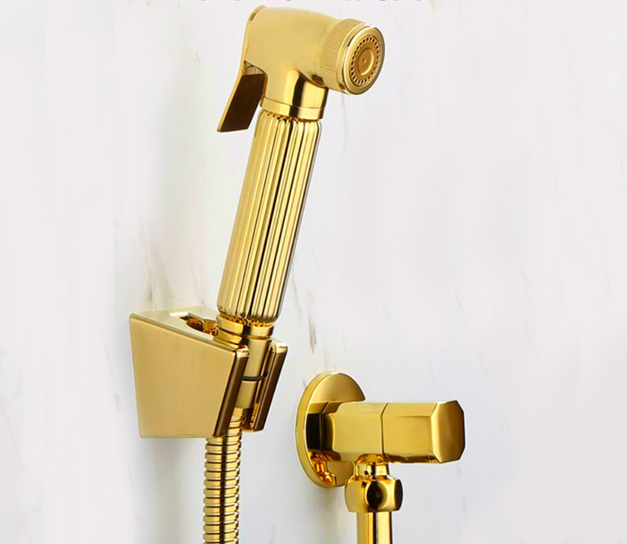 Torneira Toilet Gold Hand held Diaper copper Bidet Sprayer Shower Shattaf Spray Douche kit Jet & Golden angle valve BD211-B