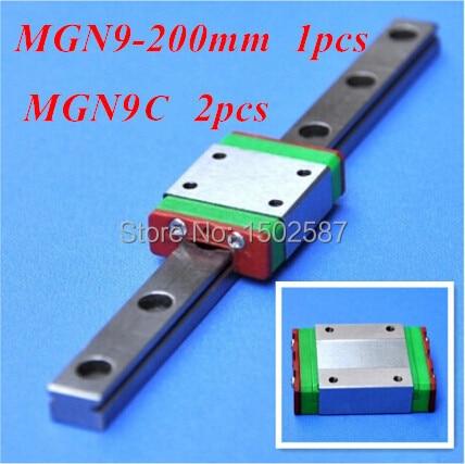 1pcs MGN9 9mm Linear Rail Slide MGN9 L- 200mm long Rail +2pcs MGN9C Carriage /Guide Block CNC Parts XYZ Axis1pcs MGN9 9mm Linear Rail Slide MGN9 L- 200mm long Rail +2pcs MGN9C Carriage /Guide Block CNC Parts XYZ Axis