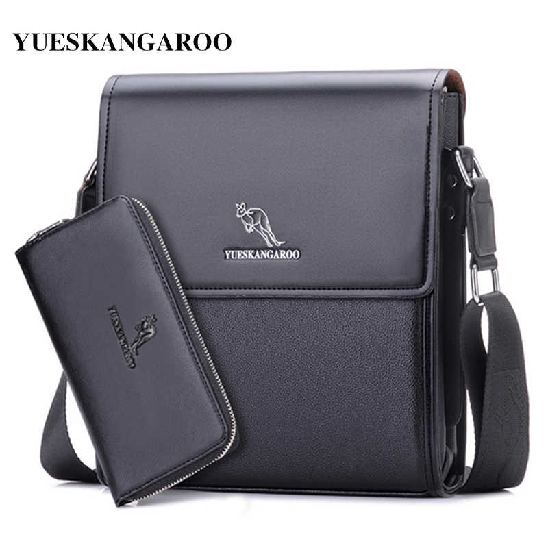 YUES KANGAROO Brand Men Messenger Bag Men Leather Shoulder Bag New Business Briefcase  Casual Crossbody Bag 55c3651edf1e7