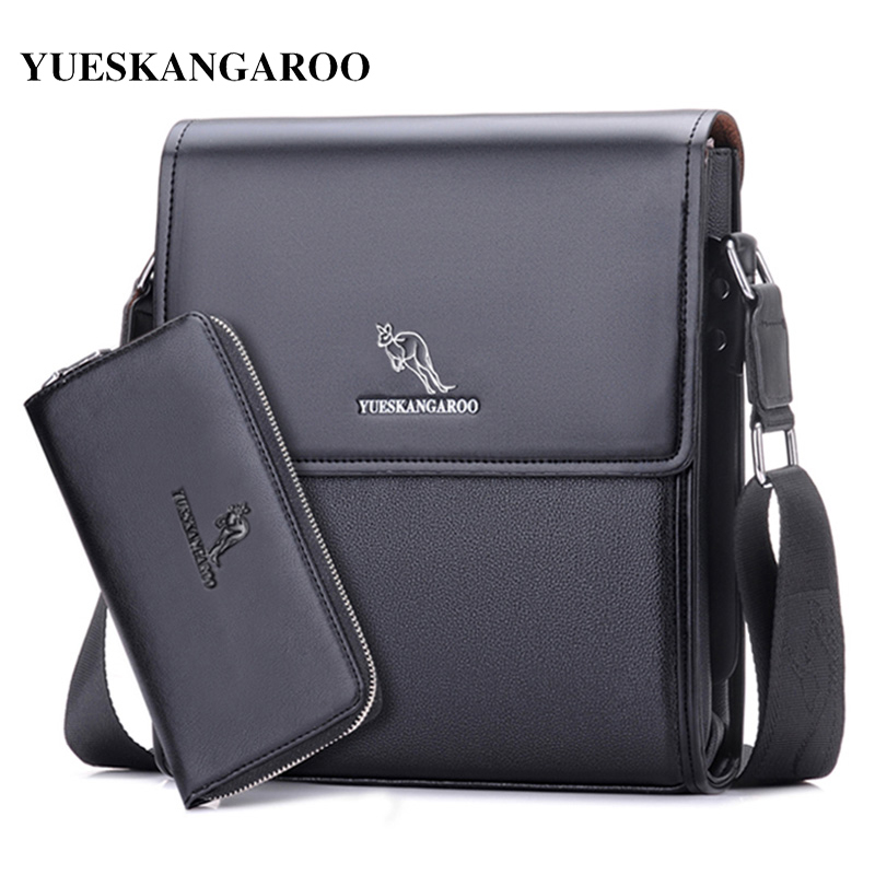 YUES KANGAROO Brand Men Messenger Bag Herr Läder Axelväska Ny Business Briefcase Casual Crossbody Väska För IPAD Bolsas Man