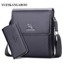 YUES KANGAROO Brand Men Messenger Bag Men Leather Shoulder Bag New Business Briefcase Casual Crossbody Bag For IPAD Bolsas Male все цены