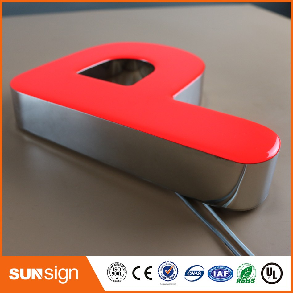 LED Frontlit Mirror Finished Stainless Steel Acrylic Letter Sign