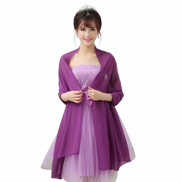 e81f706e3f US $7.2 40% OFF|Cause Women Chiffon Evening Dresses Wrap 200*75cm Bridal  Party Cape Colorfully Long scarf Custom made Color Available 2018 New-in ...