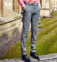 Men 34 Wool Warm Formal Grey Suit Pant Business Man Wedding Groom Super Slim Long Pants