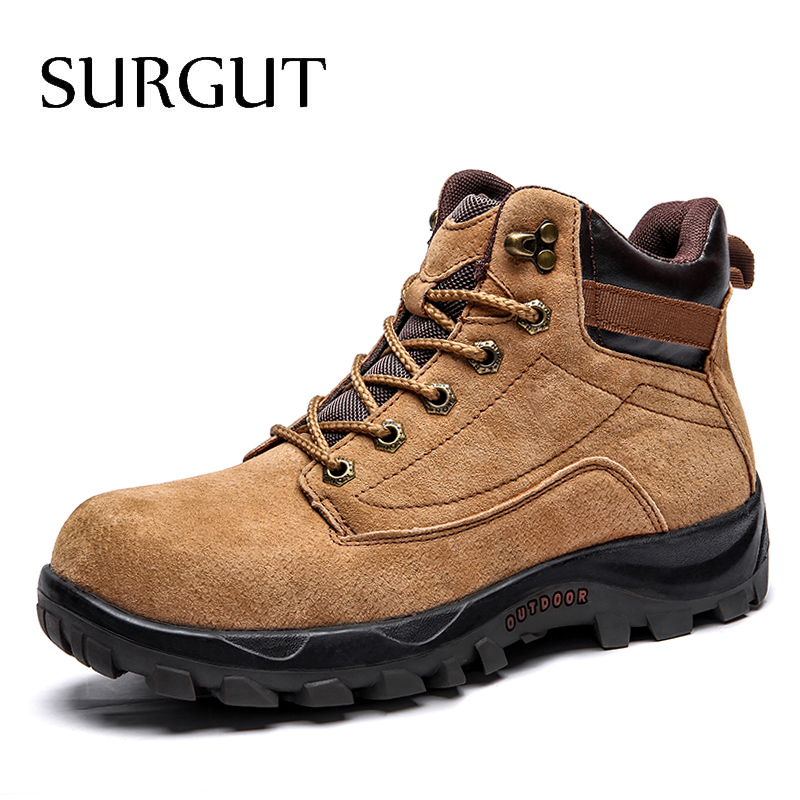 SURGUT Hot 2019 Men Ankle Boots Winter High Quality Slip-on Comfortable Super Warm Shoes Footwear Quality Snow Boots Male Boots