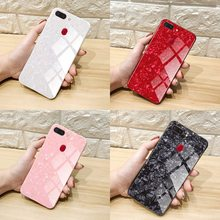Axbety For OPPO F7 F5 A83 A59 R15 Pro A73 Case Luxury Conch Shell Phone Case Glossy Marble Pattern Tempered Glass TPU Back Cover