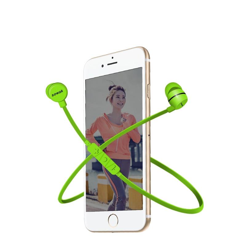 SOWAK H3 Sports Bluetooth Earphone Wireless Bluetooth 4.1 Headset Bass Stereo Earbuds Earphones with Microphone for smart phone wireless bluetooth sports headset earphone hifi microphone stereo music earbuds earpiece neckhang with rechargeable battery