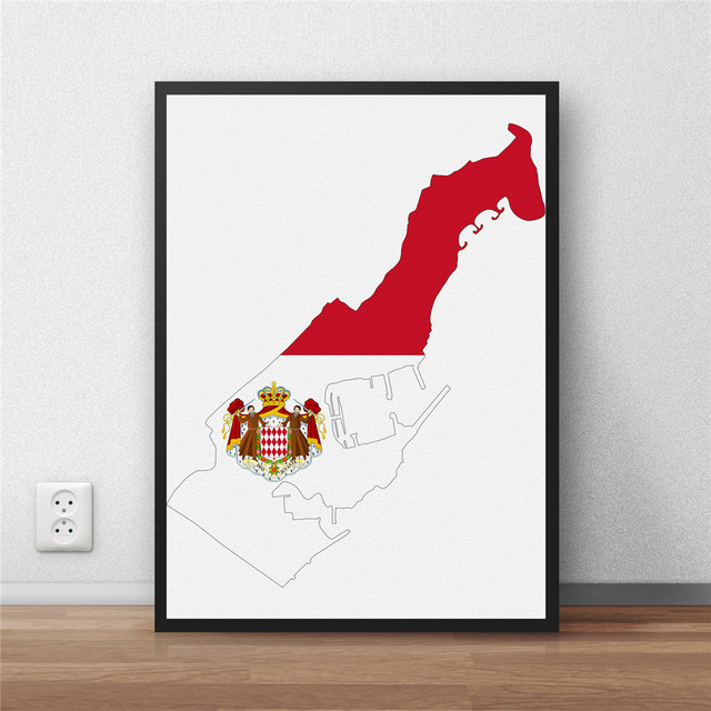 Monaco flag modern coated poster home decoration painting library monaco flag modern coated poster home decoration painting library country world map cafe restaurant wall art gumiabroncs Choice Image