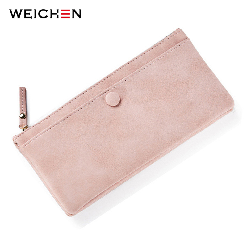 WEICHEN Vintage Style Hasp Long Day Clutch Wallets For Women Soft Faux Suede Leather Female Purse Ladies Card Coin Pocket Purses korean brand design pu leather solid hasp envelope day evening clutch wallets 16 card bags long wallet for women ladies purse