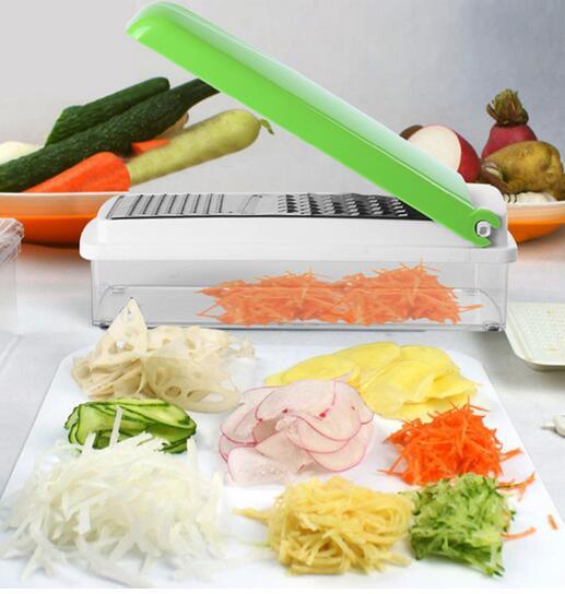 Kitchen Parer Slicer Gadget Multi-Function Shredder Salad Sliced Shred Vegetable Fruit Carrot Device Kit Container Chopper F2663