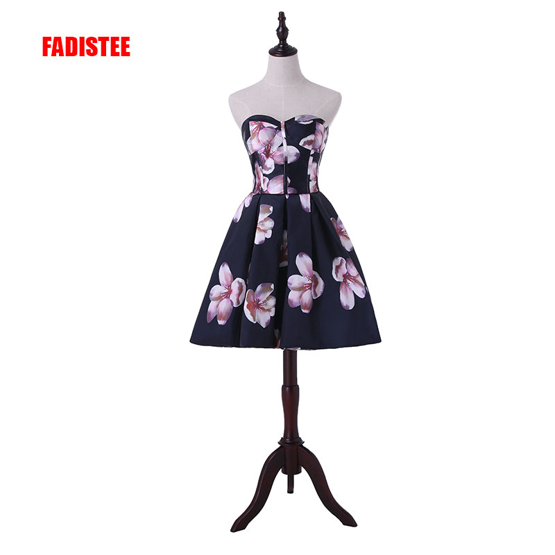 FADISTEE new arrive party prom dress Vestido de Festa strapless A-line satin lace-up back pattern short style