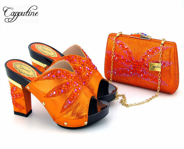 Capputine moda hermoso diseño naranja Mujer Zapatos y bolsa conjunto verano  estilo tacones altos zapatos y 3b3b2ea44c25