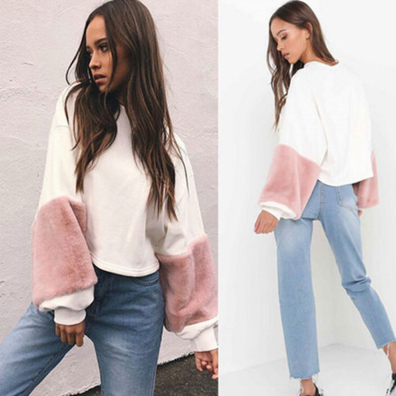 Fashion Women Casual Plush Long Sleeve Loose Hoodie Velvet Pullover Sweatshirts Womens Warm Tops Patchwork Clothes