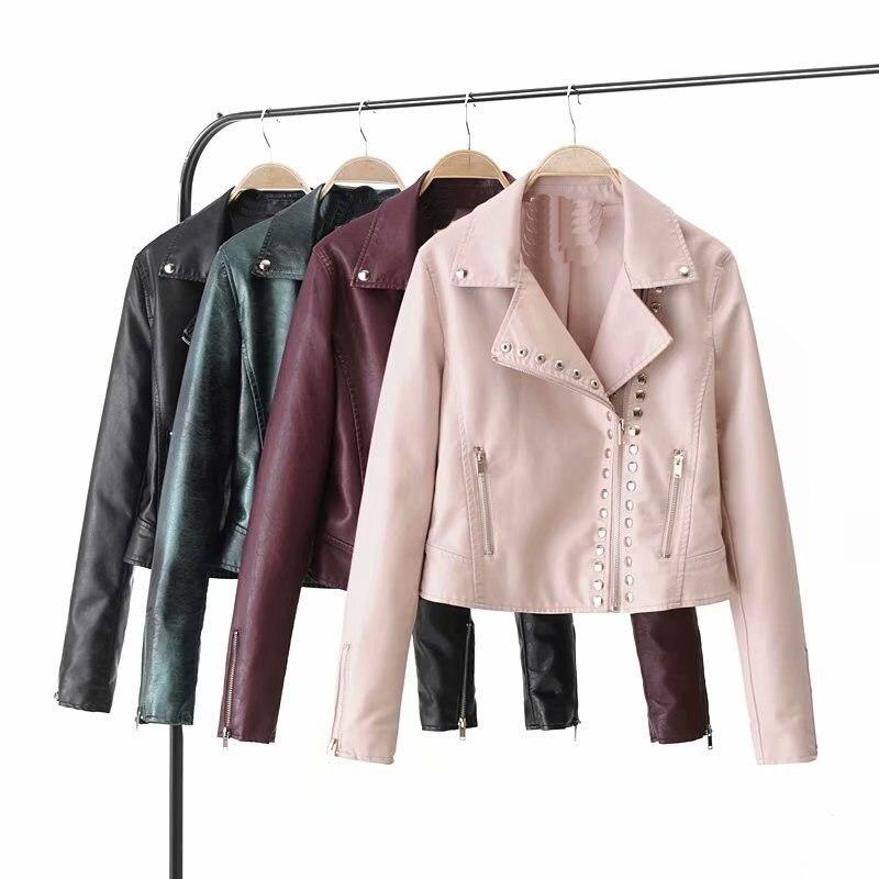 2018 New Fashion Women Autumn Biker Jacket Motorcyle Zippers Pu   Leather   Jacket Moto Biker Black Outerwear Faux   Leather   Jacket