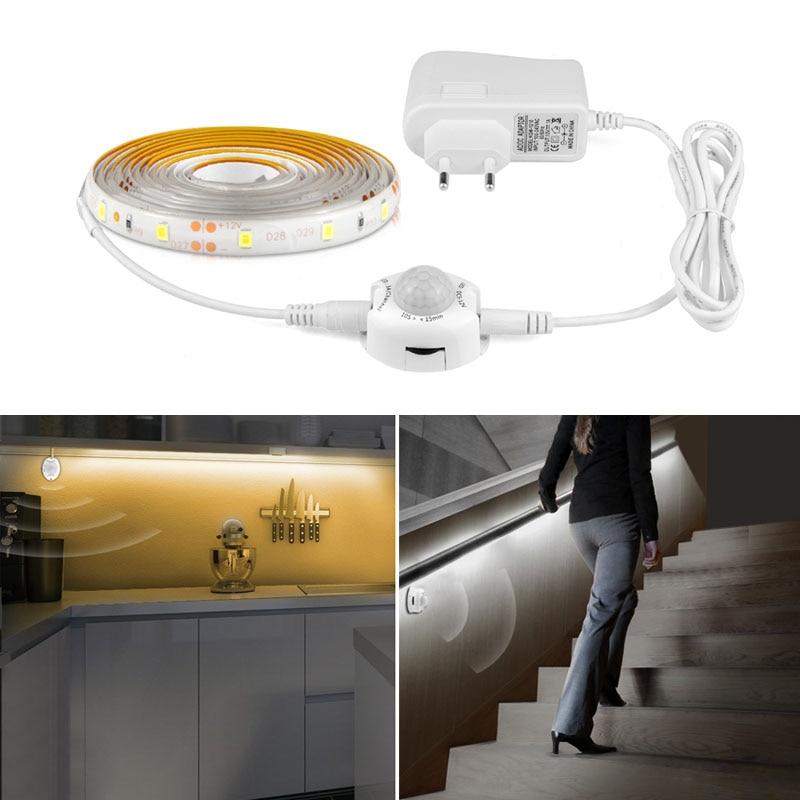pir motion sensor led strip tape ribbon light smart turn on off timer smd 3528 warm white bed. Black Bedroom Furniture Sets. Home Design Ideas