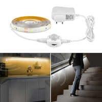 Sensor de movimiento PIR tira LED cinta luz inteligente encendido apagado temporizador SMD 3528 cálido blanco cama luces dormitorio gabinete noche lámpara