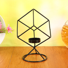1PC Square Black Cuboid Metal Tealight Candle Holders Tabletop Decorative Candlestick Holder Home Wedding Christmas Decor MK 039