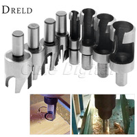 8Pcs Set Carbon Steel Carpentry Wood Plug Cutter Cutting Tool Drill Bits Straight Tapered Set Round