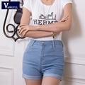 Vaqueros Del Verano de las Nuevas mujeres de Cintura Alta Stretch mujeres Jeans Shorts Hot Denim Shorts Coreano Delgado Ocasional Más El Tamaño
