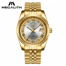 MEGALITH Luxury Watches Men Waterproof Analogue Date Wrist Watch For Man Gold Case Business Casual Mens Watch Relogio Masculino