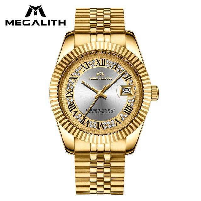 ساعات رجالي فاخرة من MEGALITH مقاومة للماء ساعة معصم مضادة للتاريخ مناسبة للرجال ذات حالة ذهبية ساعة رجالية كاجوال للرجال