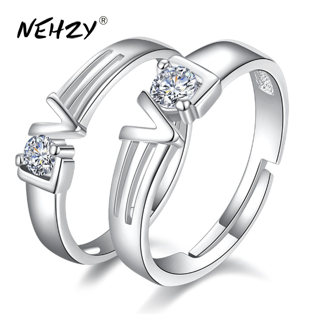 b41b5792b1d5 NEHZY New ladies fashion silver ring high quality crystal love heart  language retro couple ring pair