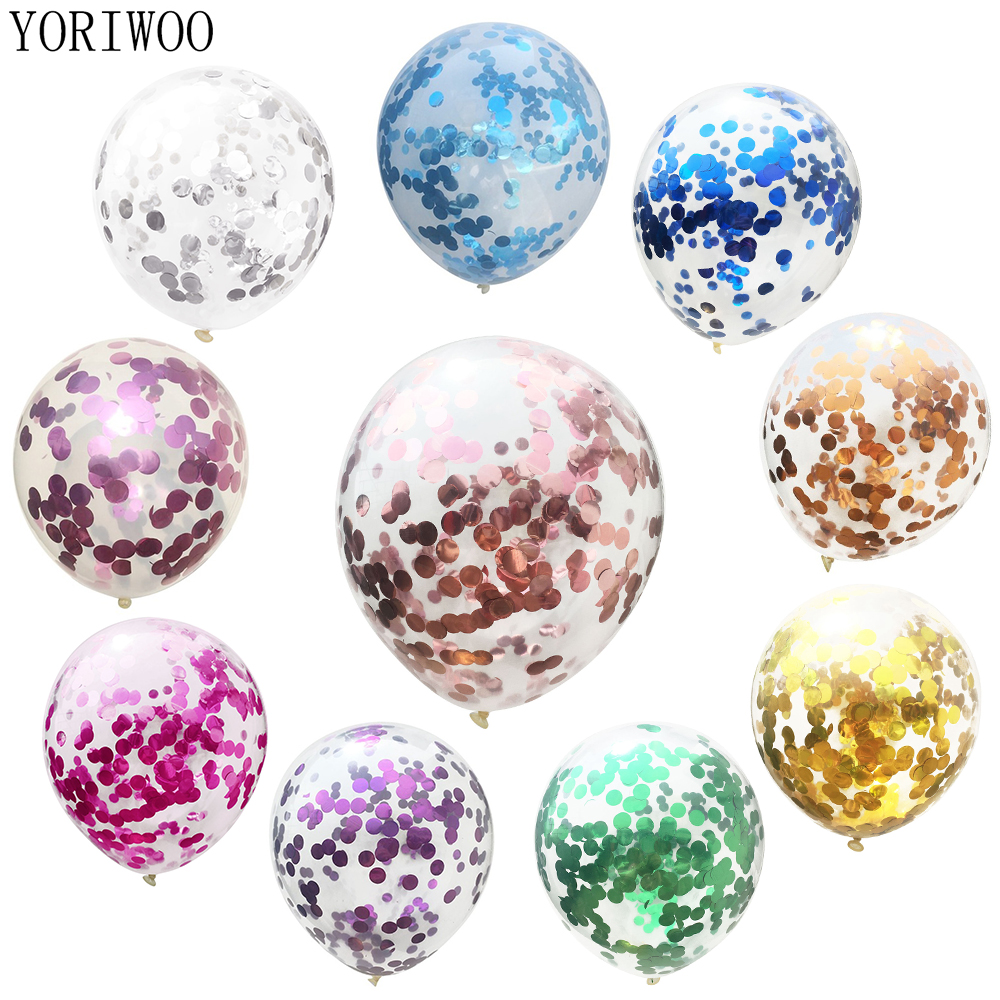 YORIWOO Confetti Balloon Colorful Balloons Air Latex Rose Gold Wedding Baby Shower 1st Birthday Party Decorations Kids