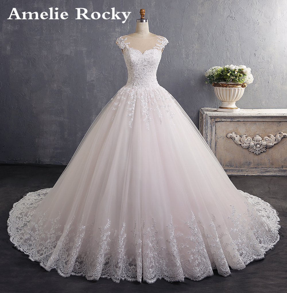 Vestidos De Novia 2019 Bride Dress Vintage Ball Gown Wedding Gowns 2019 Pearl Lace Princess Wedding
