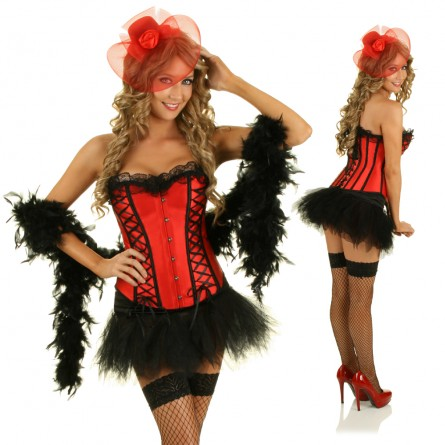 free pp sexy burlesque corset skirt fancy dress outfit halloween costume boa without hat - Bustier Halloween Costumes