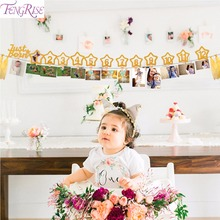 FENGRISE 12 Months Photo Frame Banner Baby Girl First Birthday Party Decorations Kids Favors Home Decor 1 One Year 1st